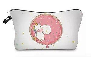 Necessaire Bolsinha Unicornio e Donut Branca