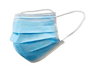 Máscara Tripla Descartável com elástico c/ 50 Azul - New Life
