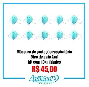 Máscara de Proteção Respiratória bico de pato Azul - 4 Me Healt kit com 10 unidades