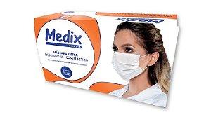 Máscara Tripla Descartável com Elástico C/ 50 Unid - Medix