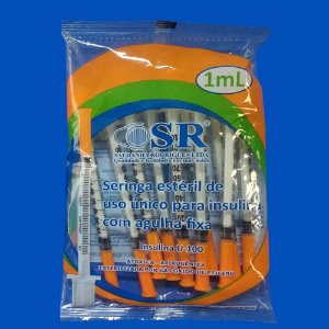Seringa Estéril de Uso Único Para Insulina Com Agulha Fixa 1 ml - SR - Pacote c/ 10 Unidades