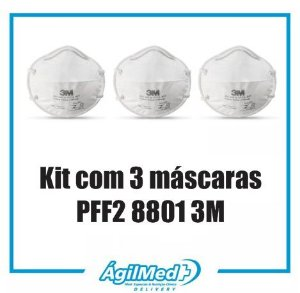 Kit c/ 3 Máscaras PFF2 8801 - 3M