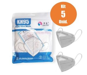 Máscara de Proteção Respiratória KN95 kit com 5 un. - Supermedy
