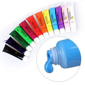 Tinta Acrílica para desenho nas unhas - Kit com 12 cores