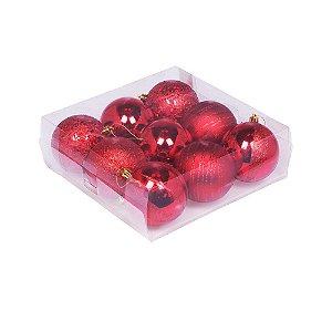 Caixa c/ 9 bolas tons vermelho sortidas G109255