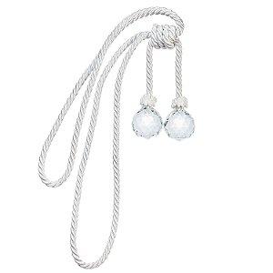 Pingente p/ cortina branco c/ 2 bolas cristal F209031