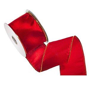 Fita vermelha acetinada c/ bordas ouro A106999