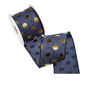 """Fita azul jeans """"pois"""" ouro tipo linho A108358"""