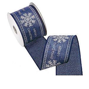Fita azul jeans design natalino branco tipo linho A108359