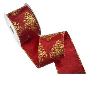 Fita vermelha design ouro tipo linho A108361