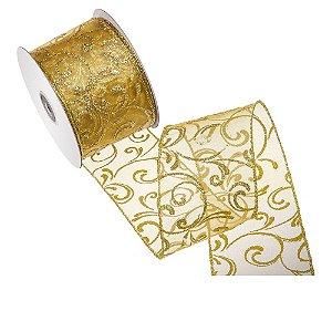 Fita ouro organza design ouro gliterado A108369