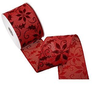 Fita vermelha design burgandy tipo linho A108371