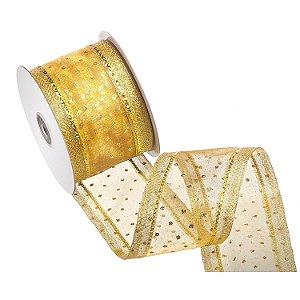 "Fita ouro c/ ""pois"" e borda ouro brilhante A108418"