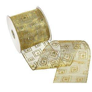 Fita ouro c/ design ouro e prata A108428
