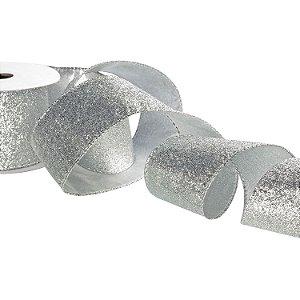 Fita gliterada prata A107939