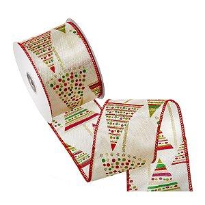Fita marfim design verde/vermelho A108440
