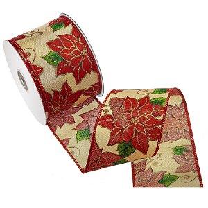 Fita bege design natalino vermelho A108464