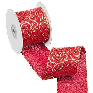Fita vermelha com arabescos ouro A108868