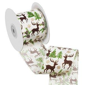 Fita marfim com cervos e galhos marrom A108883