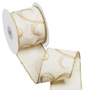 Fita marfim c/ arabescos ouro A108884
