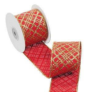 Fita vermelha com diagonais ouro A108908