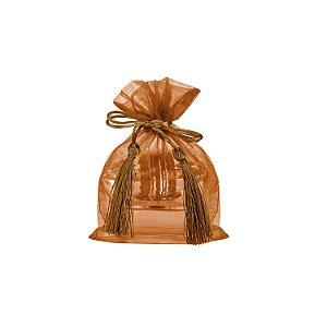 Saquinho de organza Bronze com pingente  17 x 13cm B15799