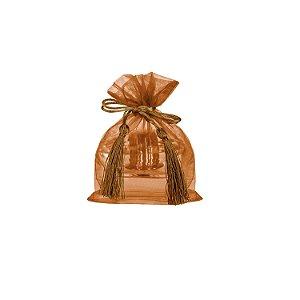 Saquinho de organza Bronze com pingente  14 x 11cm B15798
