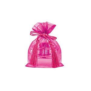 Saquinho de organza Pink com pingente 17x13cm B15C119