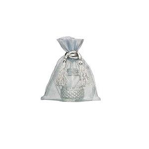 Bag em Voil Prata com pingente 14x11cm B155954