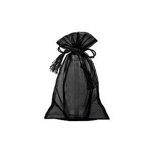 Bag em Voil Preto com pingente 24x15cm B154317