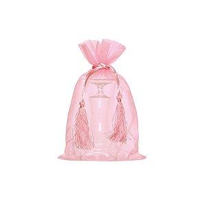 Bag em Voil Rosa Pastel com pingente 24x15cm B15768
