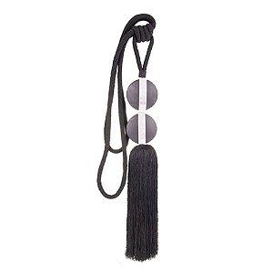 Pingente p/ cortina preto c/ placa redonda e metal F208014