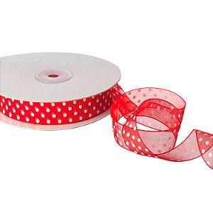 "Fita Organza Vermelha ""Pois"" Branco 1,90 cm x 50m A205233"