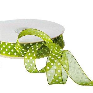"Fita Organza Verde Musgo""Pois"" Branco 1,90cm x 50m A205234"