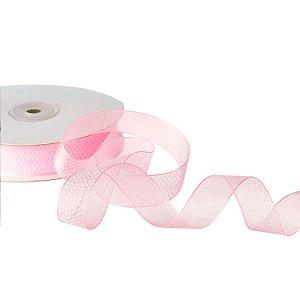 """Fita Organza Rosa """"Mini Pois"""" Branco 1,90cm x 50m A208565"""