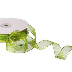 """Fita Organza Verde  """"Mini Pois"""" Branco 1,90cm x 50m A208566"""