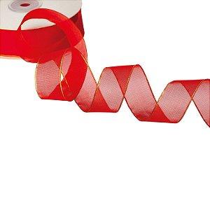 Fita Organza Vermelha c/ Borda  Ouro 2,54cm x 50m A208569