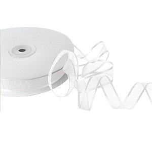Fita Organza Branca Borda Acetinadas 1,27cm x 50m A208589
