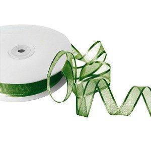 Fita Organza Verde Musgo Borda Acetinadas 1,27cm x 50m A208597