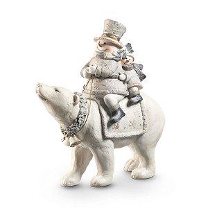 Boneco de Neve c/ Urso Polar em Poliresina F407677