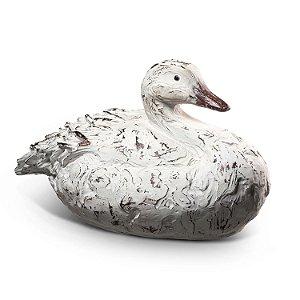 Pato em Poliresina Branco Antigo-F408227