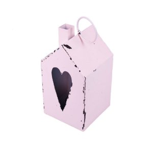 Casinha rosa porta velas c/ coração em metal F359125