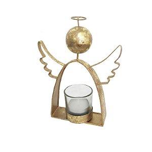 Porta velas anjo ouro em metal