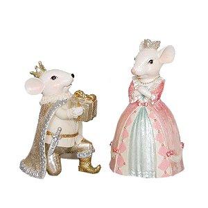 Casal de Ratinhos Candy em Resina - 2 peças F409235