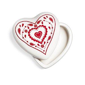 Porta Joia Branco/vermelho em porcelana- 3peças F408481