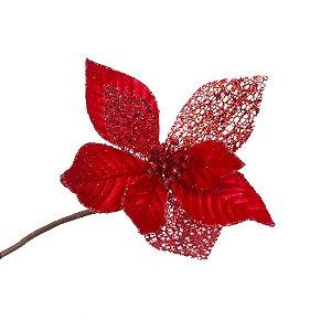 Poinsetia Vermelha e Folhas Rendadas G209345