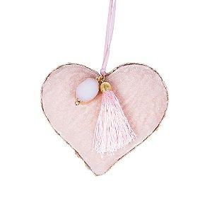 Coração p/ pendurar Rosa c/ Pedra e Tassel G559317