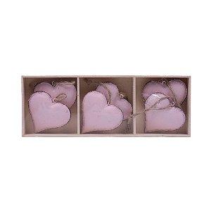 Caixa c/ 6 corações p/ pendurar em metal F359127