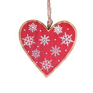 Coração vermelho p/ pendurar em madeira F359156