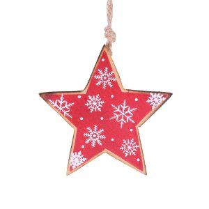 Estrela vermelha p/ pendurar em madeira F359157